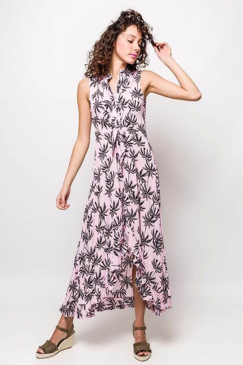 b27188eff996 Dlhé ružové košeľové šaty so vzorom palmových listov - Rouzit.sk ...