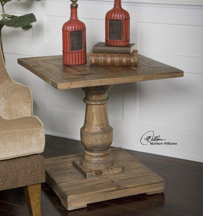 Reclaimed Wood Side Table Centro y Mesas - mesitas de madera