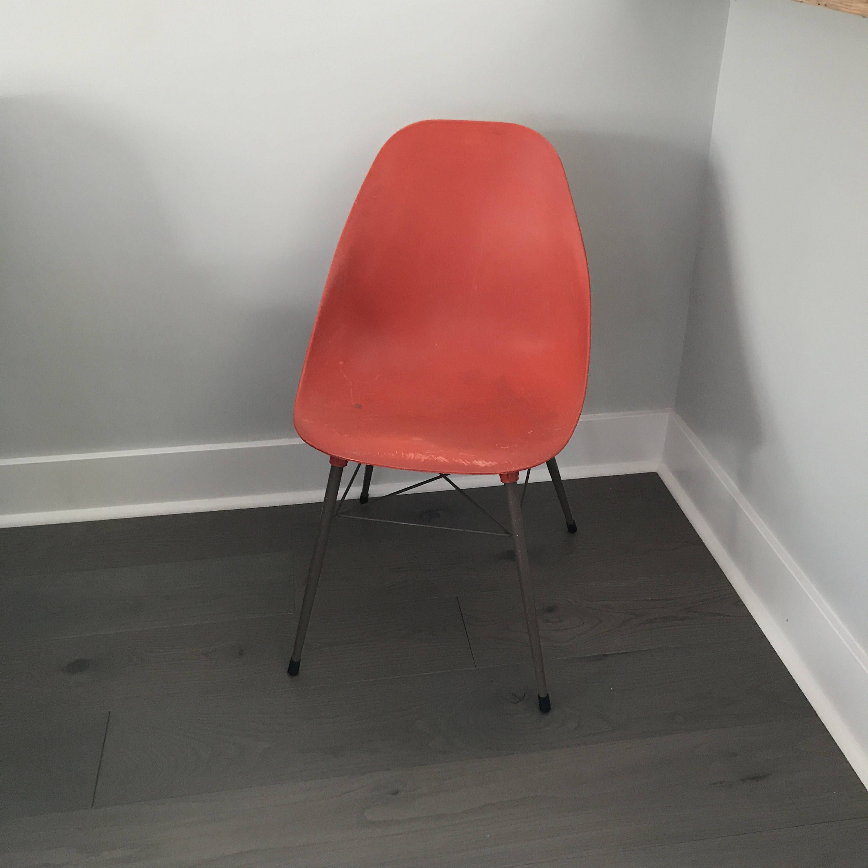 Retro Orange Shell Chair Molded Plastic Chair Mid