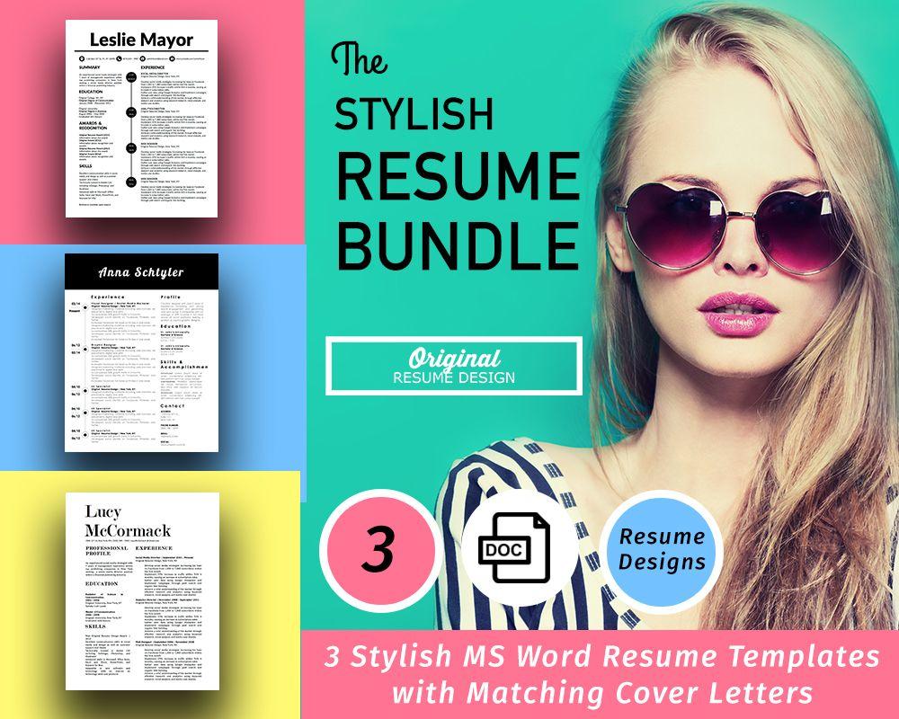 resume designs bundle featuring 3 stylish resume templates