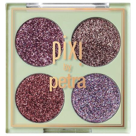 And eye-twinkling quad of four pressed glitter-y shades with no fall-out and rich colour payoff. Made in China And eye-twinkling quad of four pressed glitter-y shades with no fall-out and rich colour payoff. Made in China