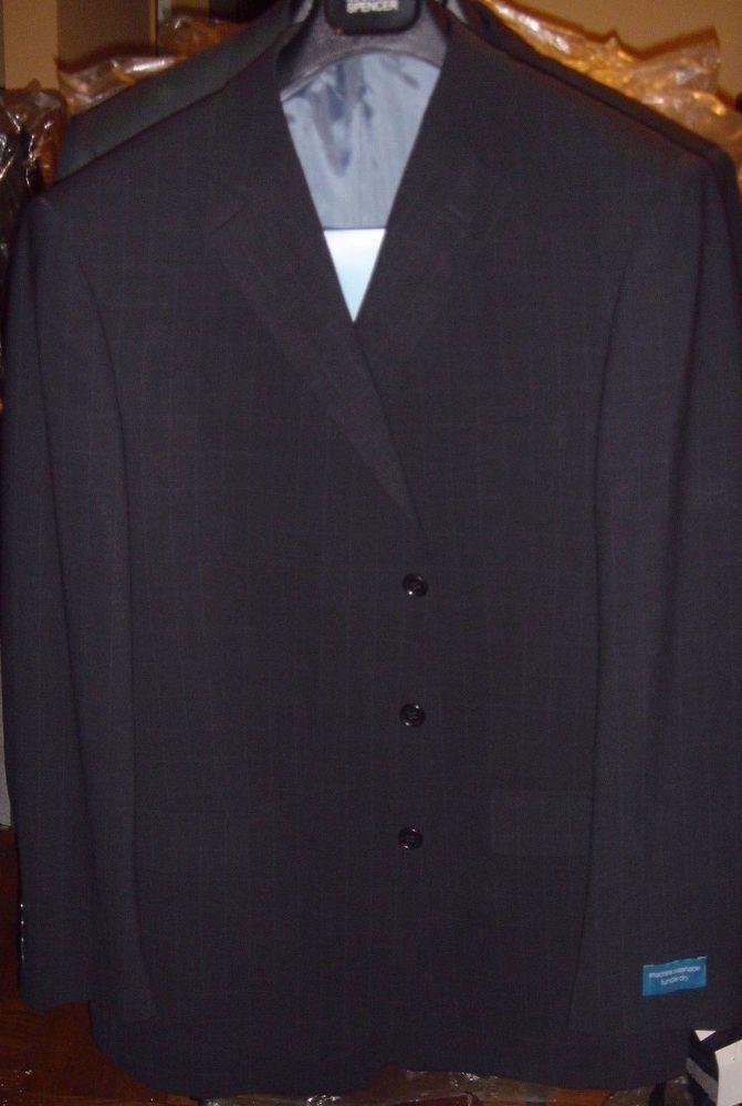 Marks & Spencer Navy Blue Stripe Box Blazer Machine Wash Size 44 Reg Jacket New  #MarksSpencer #ThreeButton