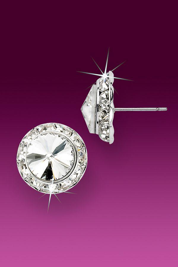 Rhinestone Earrings Dance 13mm Pierced Rivoli Crystal Jewelry