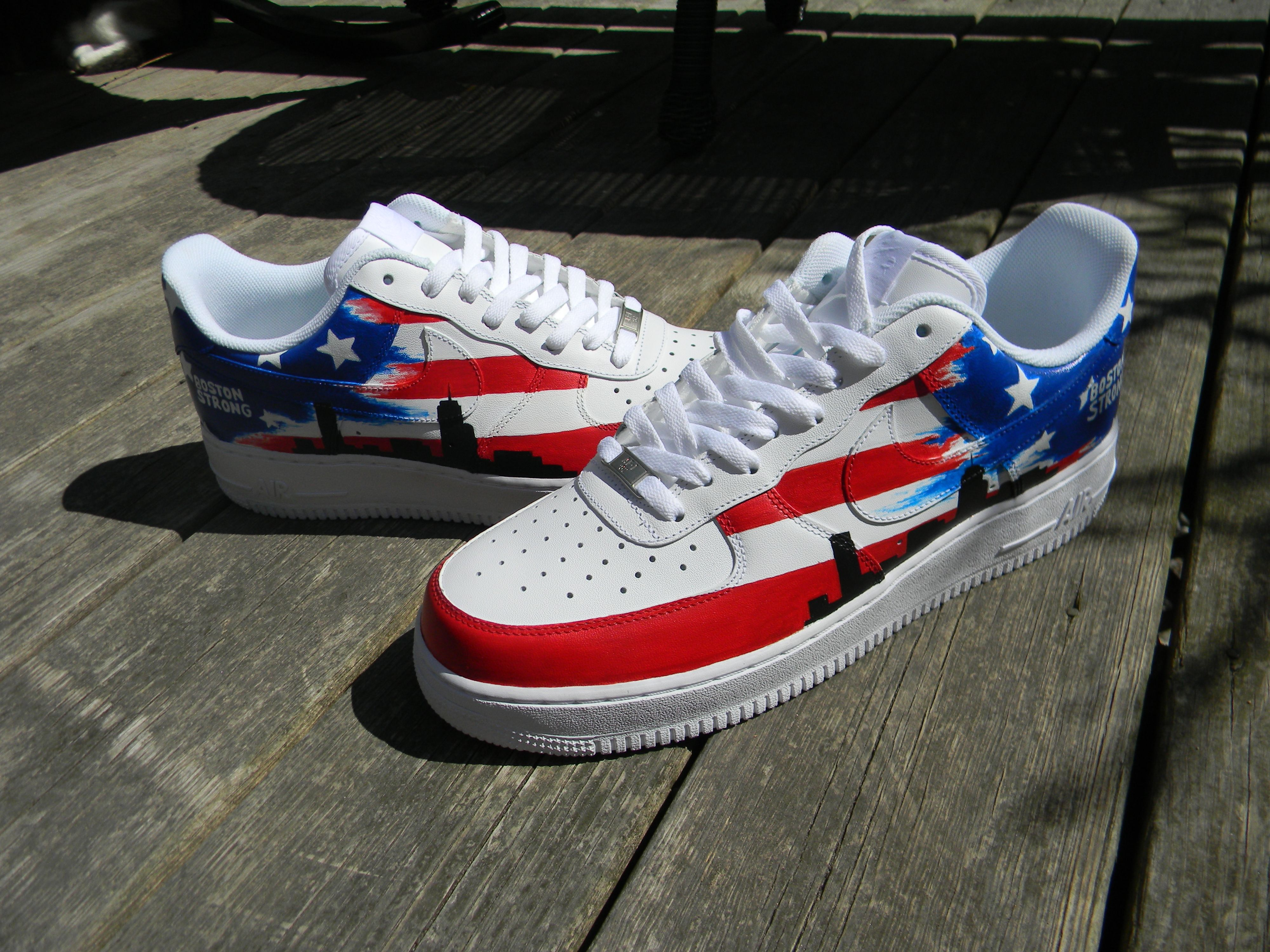 Custom Air Force Ones Are Up For Auction Boston Strong So Awesomebidding Ends 5 15