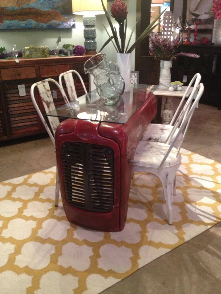 Tractor Table White Metal Chairs Yellow And White Quatrefoil Flatweave Rug Unusual