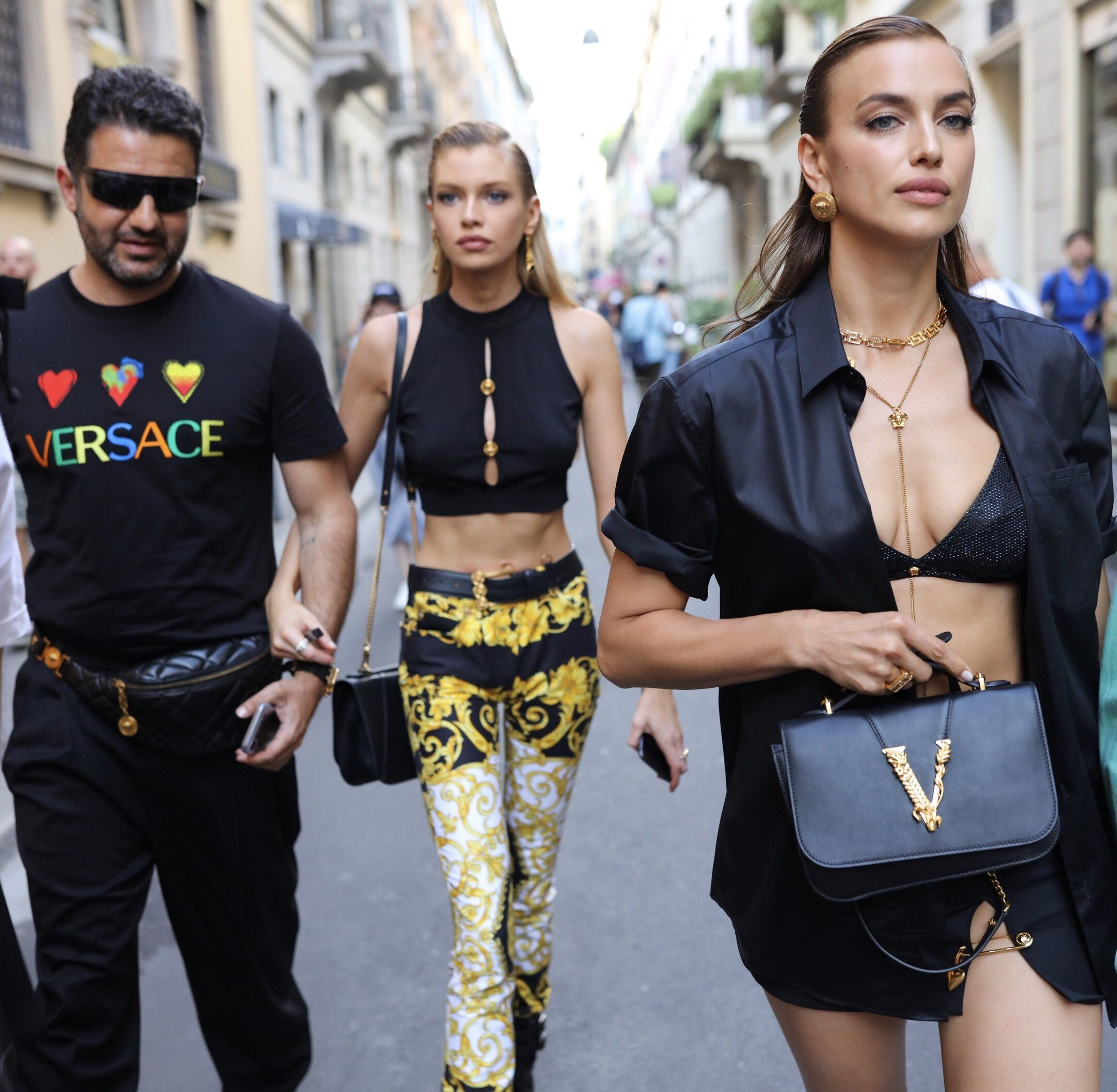 Versace Street Style At Milan Spring 2020 Menswear Shows Featuring