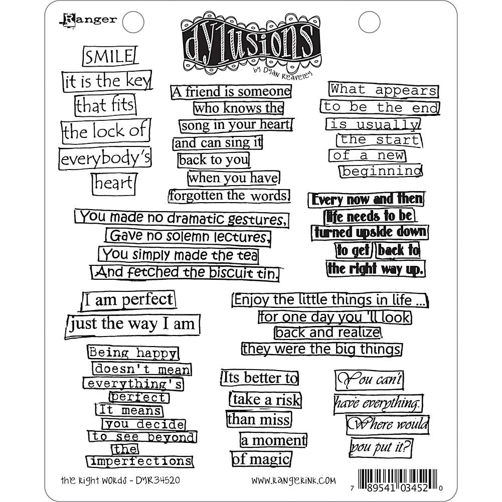 Dyan Reaveley's Dylusions Cling Stamp Collections 8.5X7 - The Right Words - 7071566 | HSN #365motsbocalidees