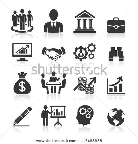 Business Icons Management And Human Resources Set1 Vector Eps 10