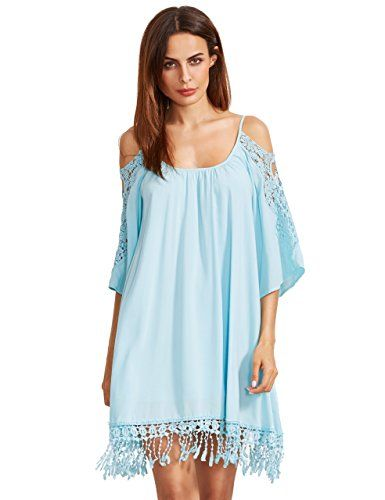 3842d1f30b3 Milumia Womens Summer Cold Shoulder Crochet Lace Sleeve Loose Beach Dress  Light Blue S    Click image to review more details.