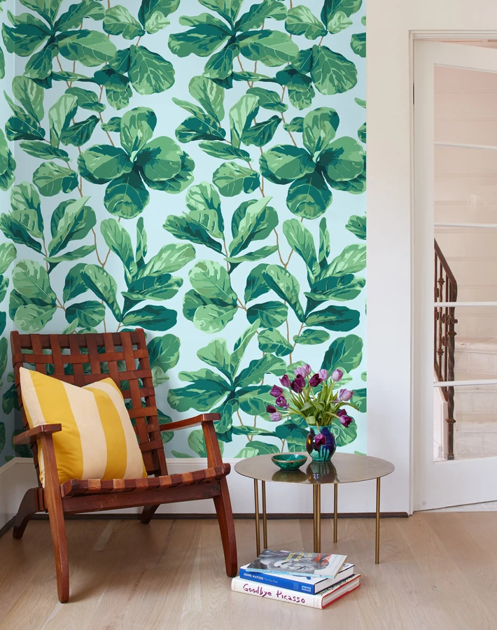 Fiddle Fig Sky In 2020 Removable Wallpaper Traditional Wallpaper Fiddle Fig