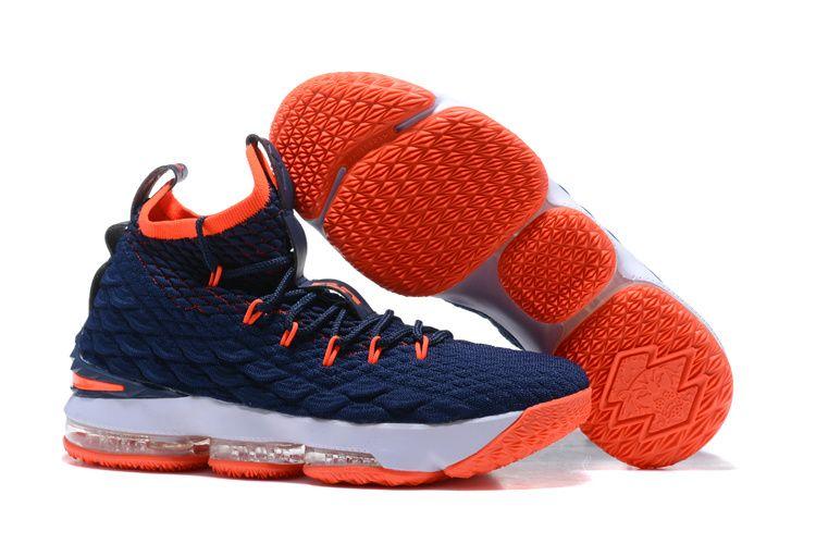 size 40 37879 1b8df 2017 Nike LeBron 15 Navy Blue/Orange-White Shoes | Nike ...