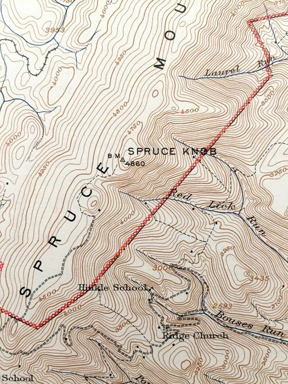 Antique Spruce Knob, West Virginia 1924 US Geological Survey