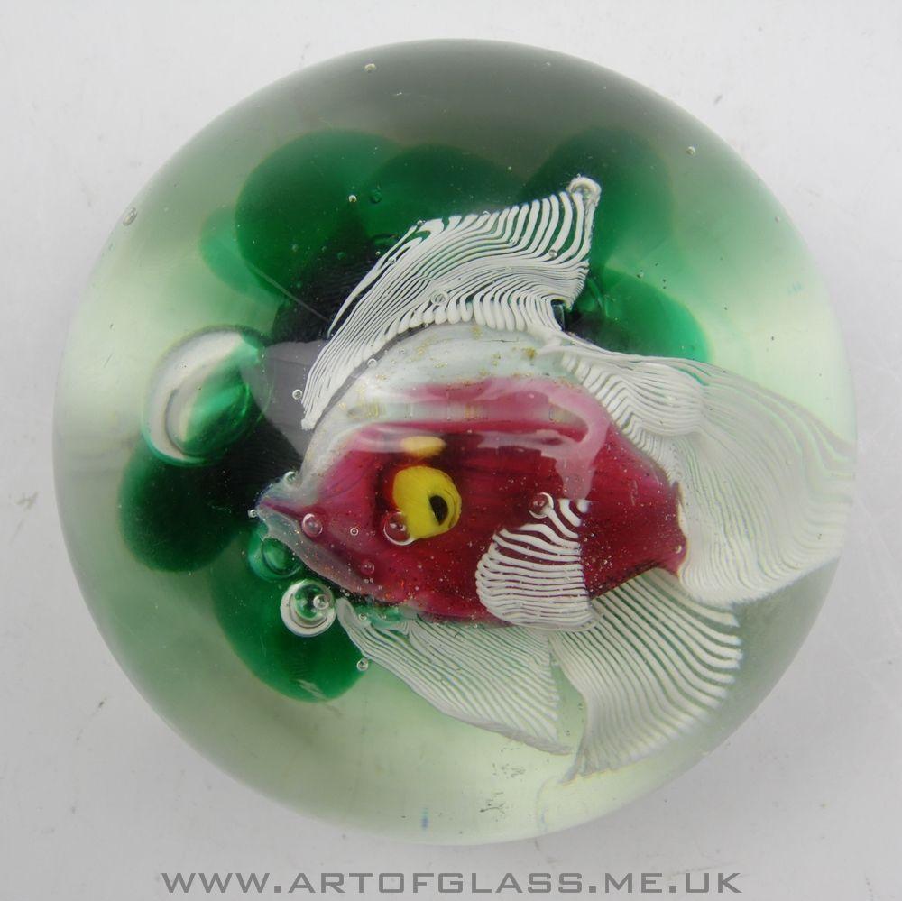antique art Glass Paperweights | Murano aquarium fish vintage glass paperweight.
