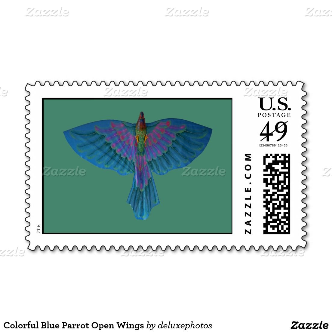 Colorful Blue Parrot Open Wings Stamp
