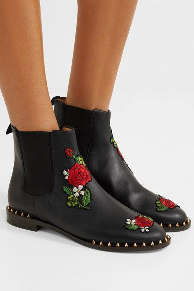 Buy Popular Shoes Charlotte Olympia Appliqu d leather Chelsea boots Black Women