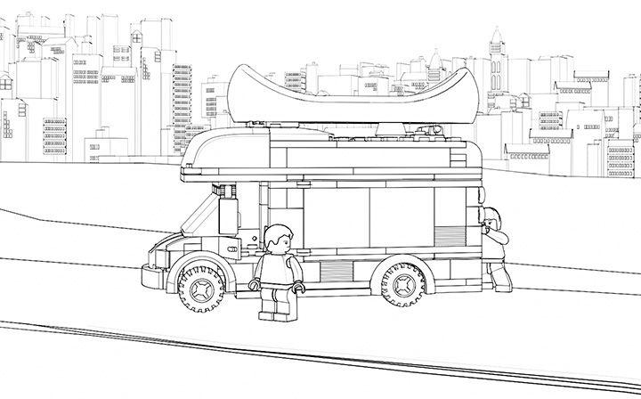 lego coloring sheet  60057 camper van