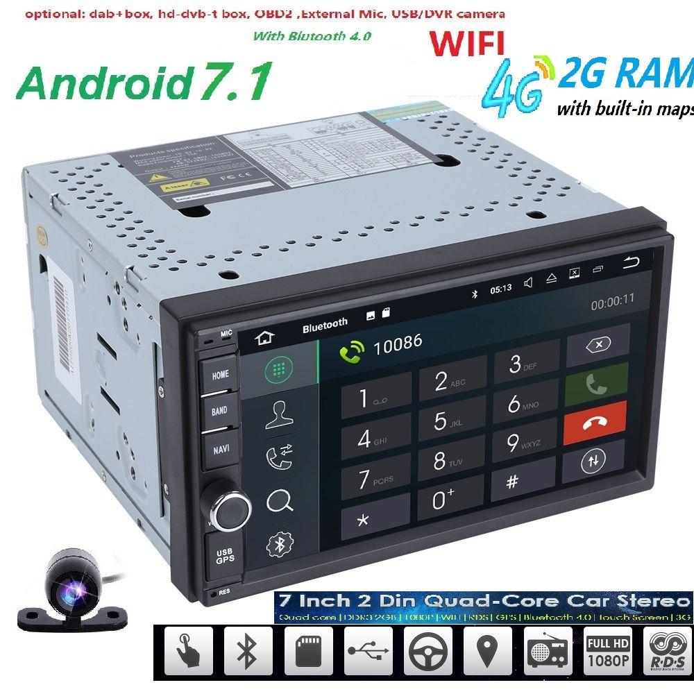 Free Camera Android 7 1 2gb Ram 1024 600 Car Gps 2din Radio