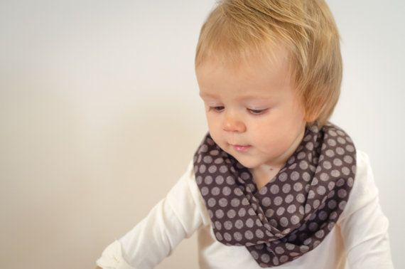 Brown and Taupe Polka Dot Infinity Scarf - Baby, Toddler, Child - One Size Fits Most - Great for Fall and Winter - Matches Any Outfit!