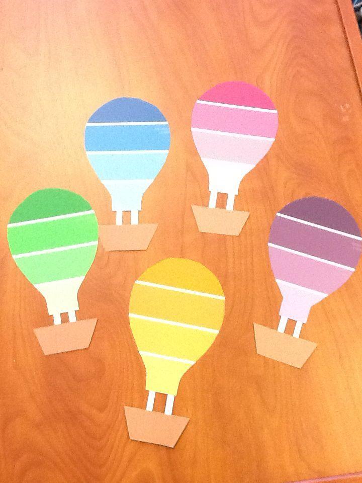 My Hot Air Ballon Door Decs Made From Paint Chips For Spring Semester! Einladung  KindergeburtstagFarbmusterFarbkartenPappeEinladungskartenDiy ...