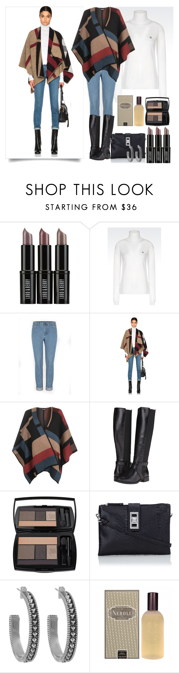 """Untitled #2507"" by nefertiti1373 ❤ liked on Polyvore featuring Lord & Berry, Armani Jeans, Burberry, WearAll, Steven, Lancôme, Wallis, House of Harlow 1960 and Czech & Speake"