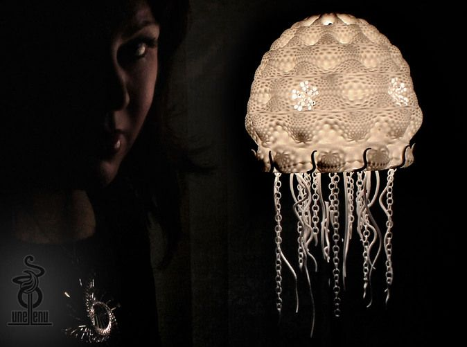 Jellyfish Lampshade Top Part A By Unellenu On Shapeways Jellyfish Lamp Lampshade Designs Shapeways 3d Printing