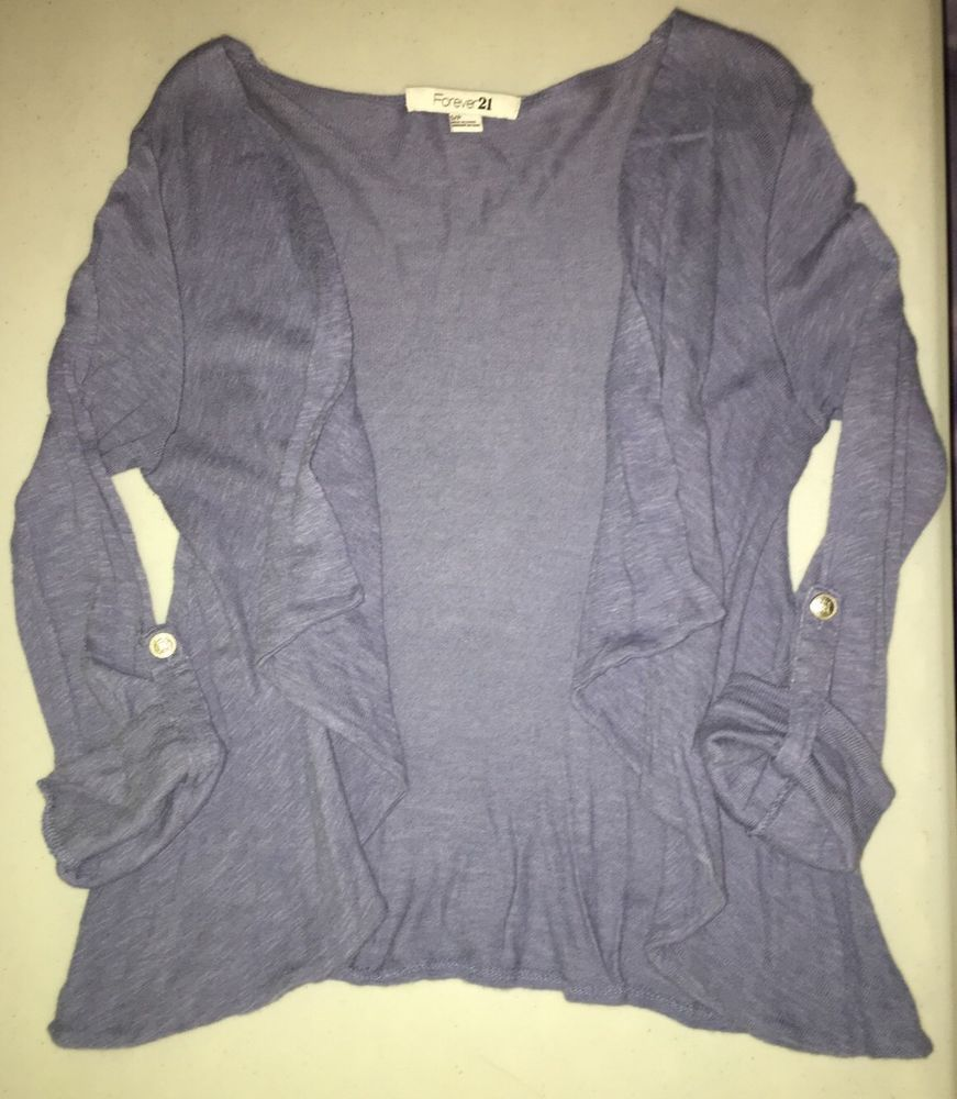 Forever 21 Ladies Juniors Denim Blue Sweater Cardigan Wrap, Size S ...
