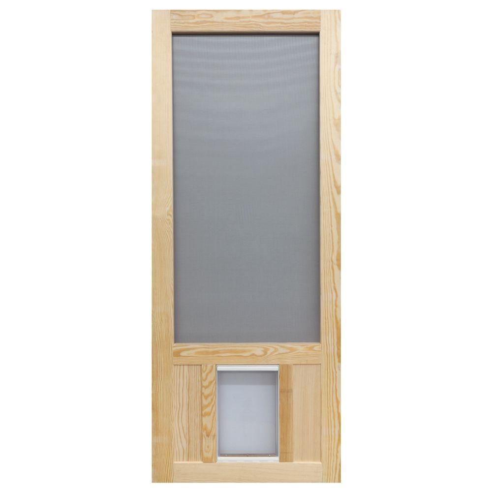 Screen Tight 32 In X 80 In Chesapeake Series Reversible Wood Screen Door With Extra Large Pet Flap Wcpk32xl The Home Depot Wood Screen Door Diy Screen Door Pet Screen Door