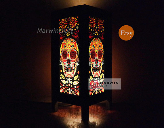 Sugar skull punk rock japanese lamp zen bedside lamp floor