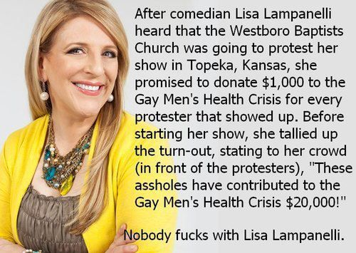 No one f*(ks with Lampanelli. Wow. Love. The first thing she says that doesn't make me cringe! Way to go!