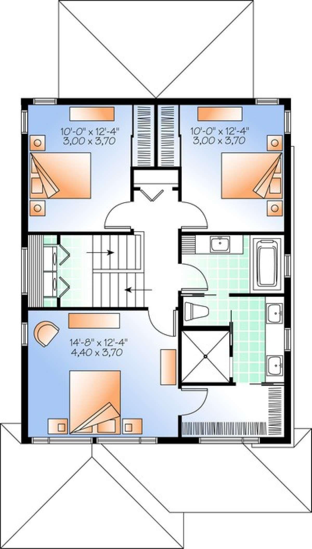 House Plan 034 01034 Narrow Lot Plan 1 617 Square Feet 3 Bedrooms 2 5 Bathrooms House Plans Narrow Lot House Plans Floor Plans