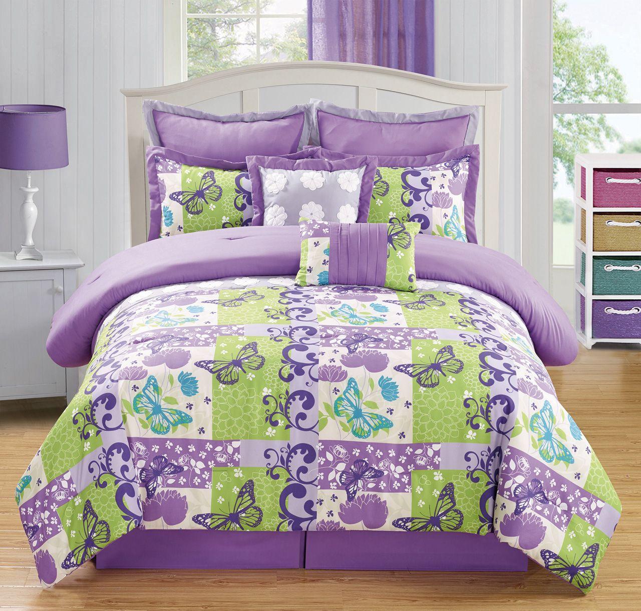 Best 12 Piece Butterfly Purple Green Bed In A Bag Set Green 400 x 300