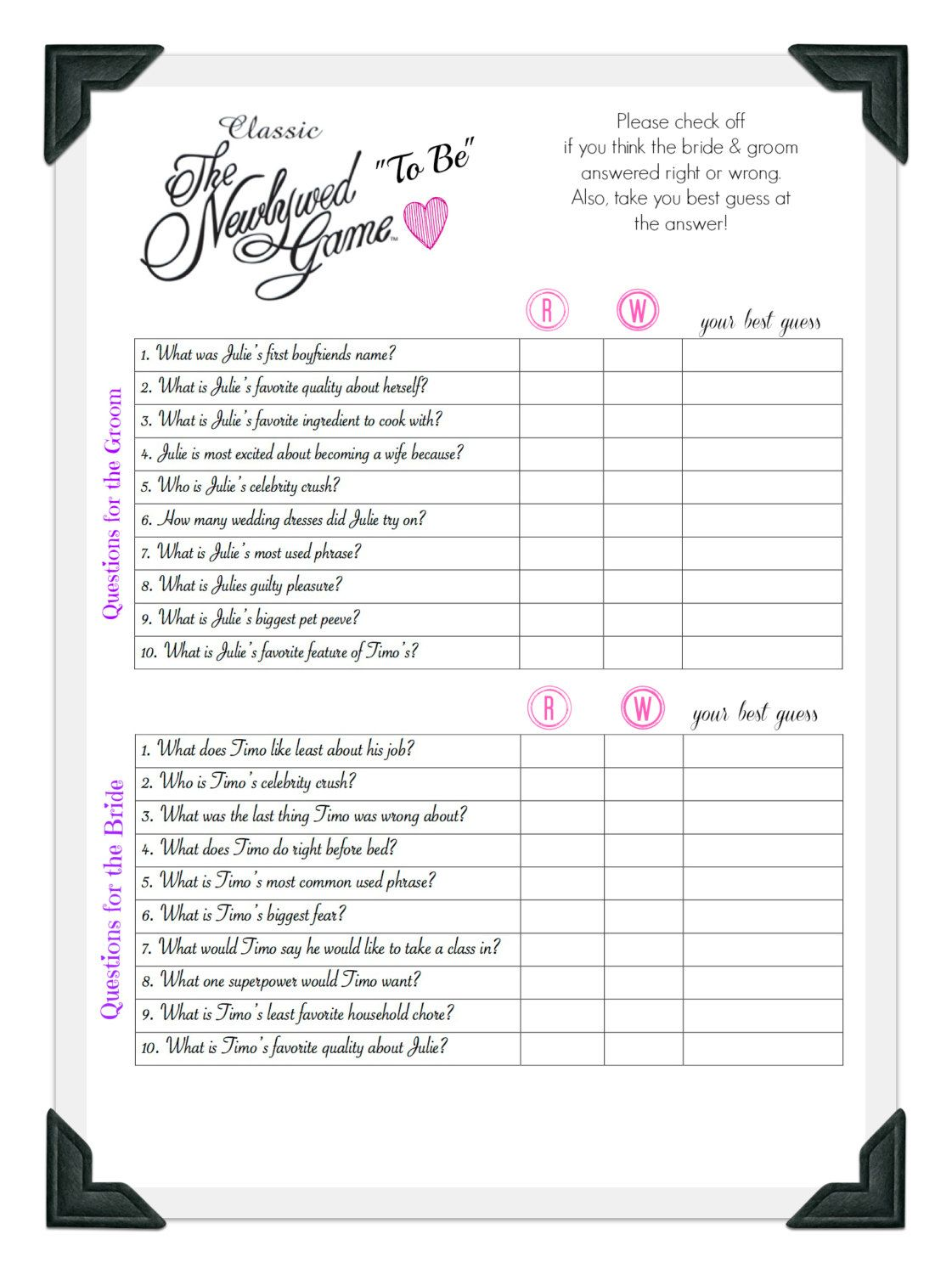 Questions for newlywed game for bridal shower