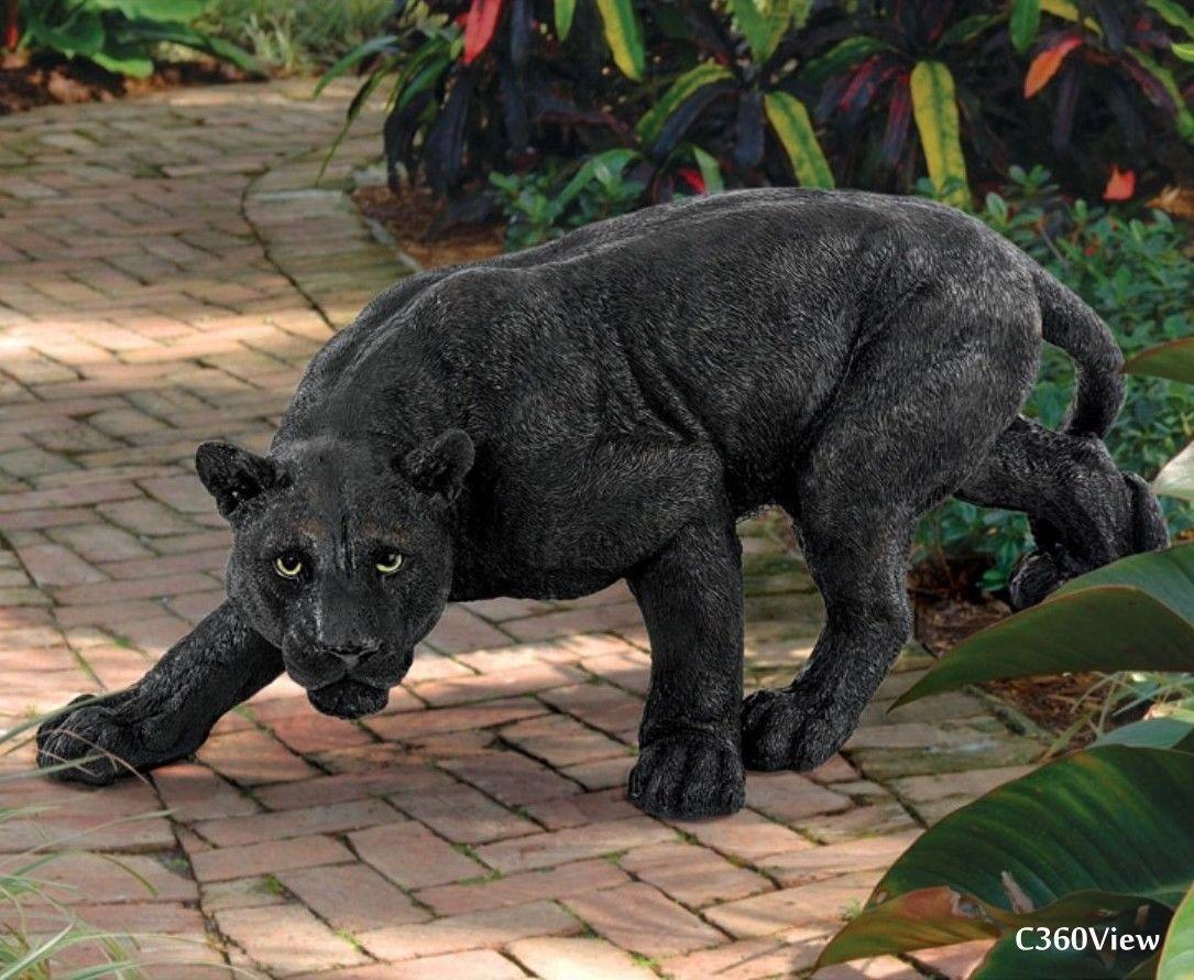 black panther statues stalking sculpture garden patio yard art