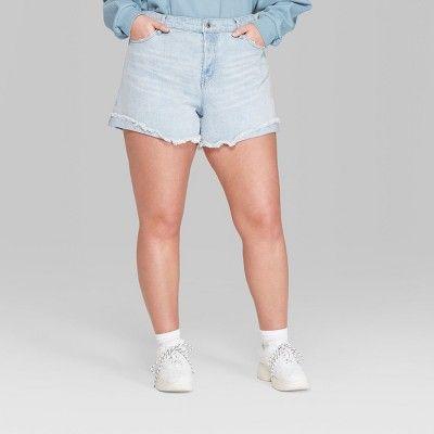 "4af876e539 Women's Plus Size High-Rise Roll Cuff Mom Jeans Shorts - Wild  Fableâ""?20Light/Medium Blue Wash 18W #Cuff, #Roll, #Jeans"