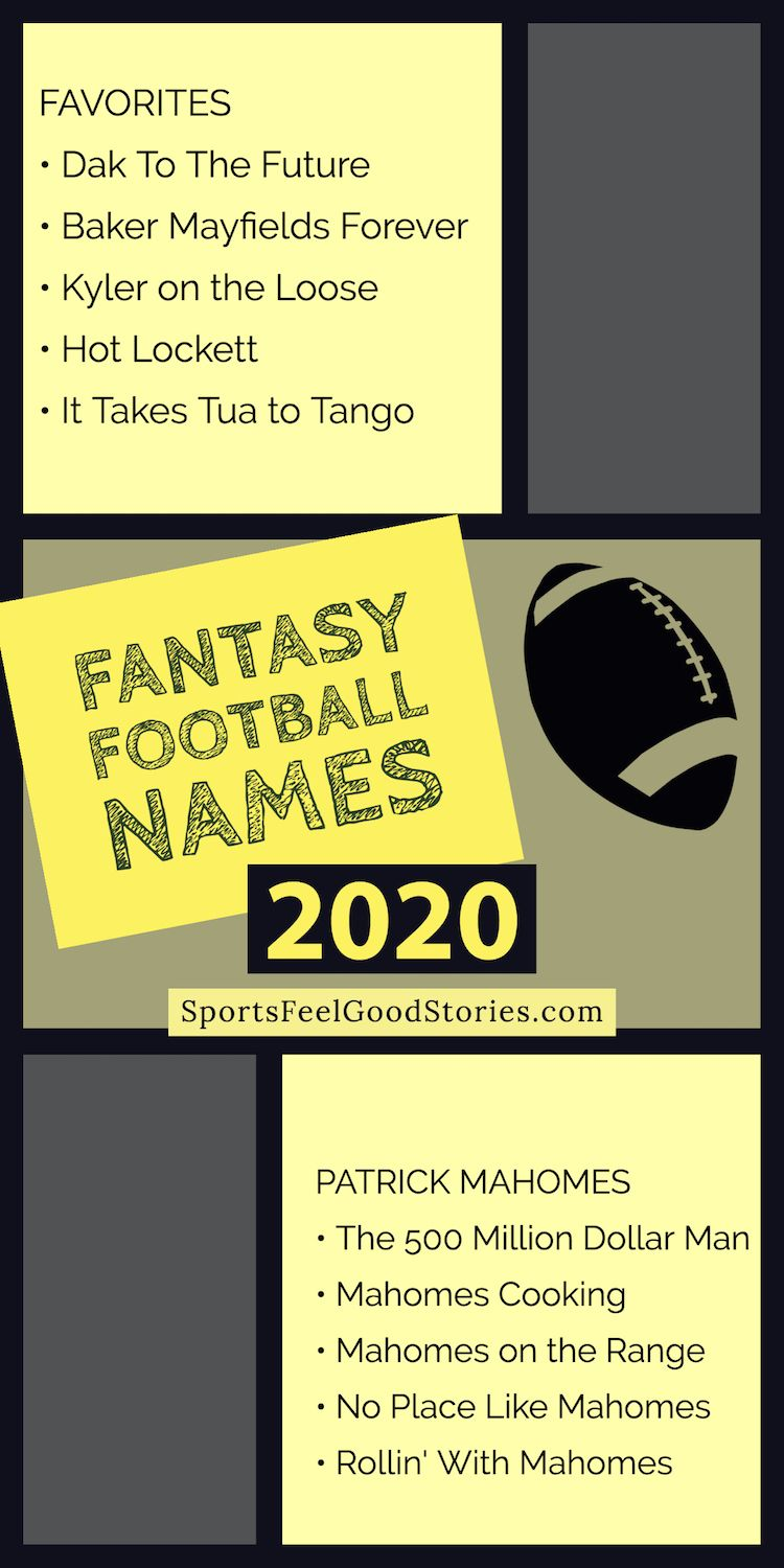 Funny Fantasy Football Team Names 2020 Clever Good And Best In 2020 Football Team Names Fantasy Football Names Team Names