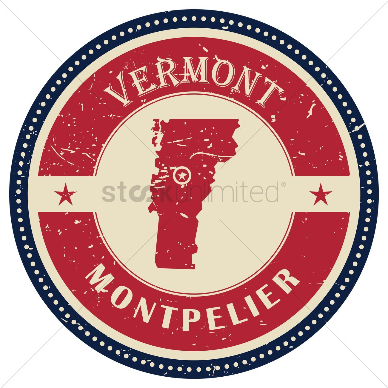 Stamp of vermont state vector illustration , Ad, vermont