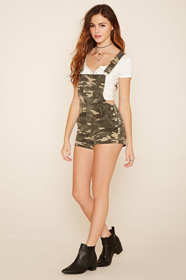 Camo Print Overall Shorts
