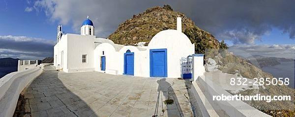 Church Theoskepasti at the Skaros rock, Santorini, Greece