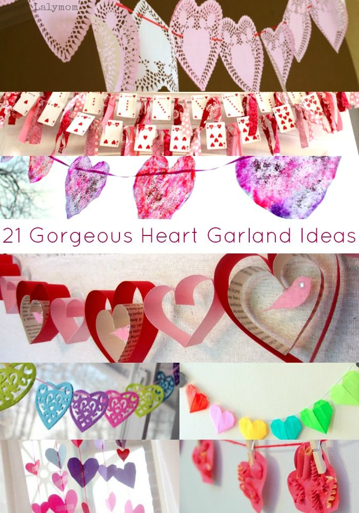 20 valentine 39 s day garland ideas some for kids to make and others for adults love these heart. Black Bedroom Furniture Sets. Home Design Ideas