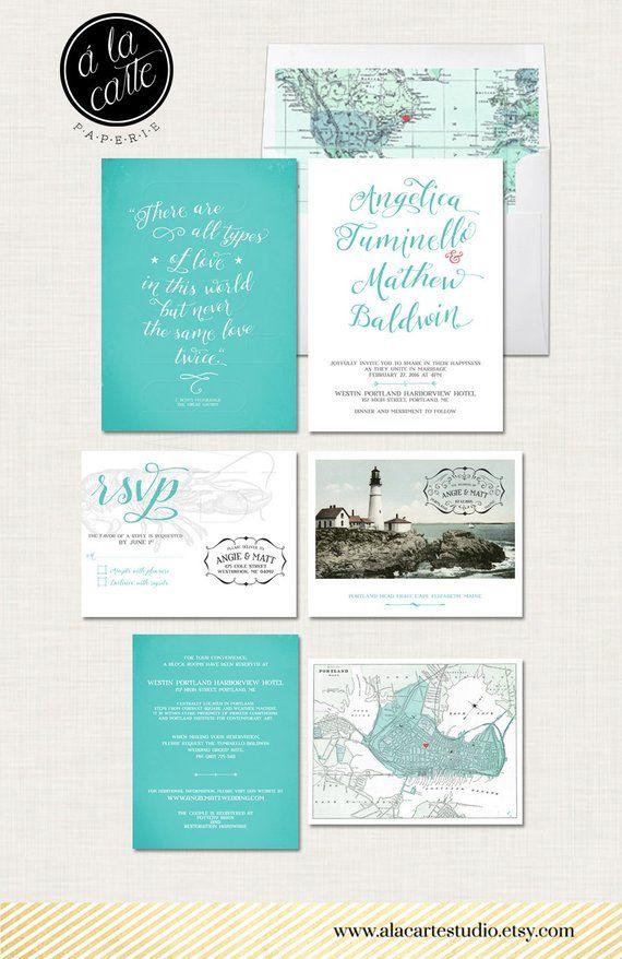 Portland Maine Wedding Invitation Set Coastal