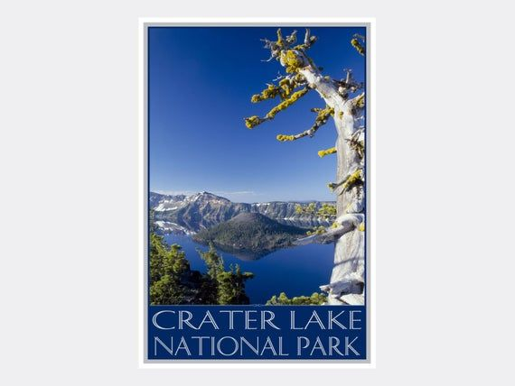 Crater Lake National Park Old Sentinel Giclee Art Print Poster from Original Photo by Artist Ike Lea #craterlakenationalpark