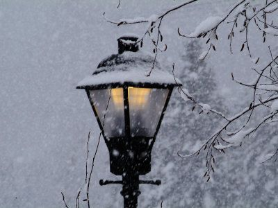 Lamp Post In The Evening Snow Nerdy Pinterest