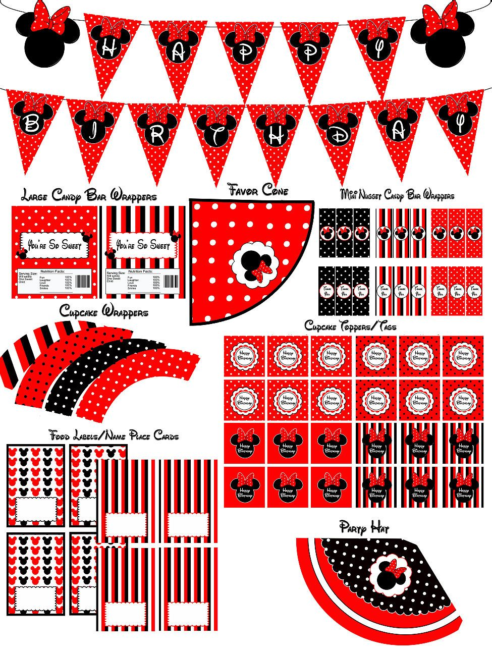 Minnie mouse birthday party printable party package pack
