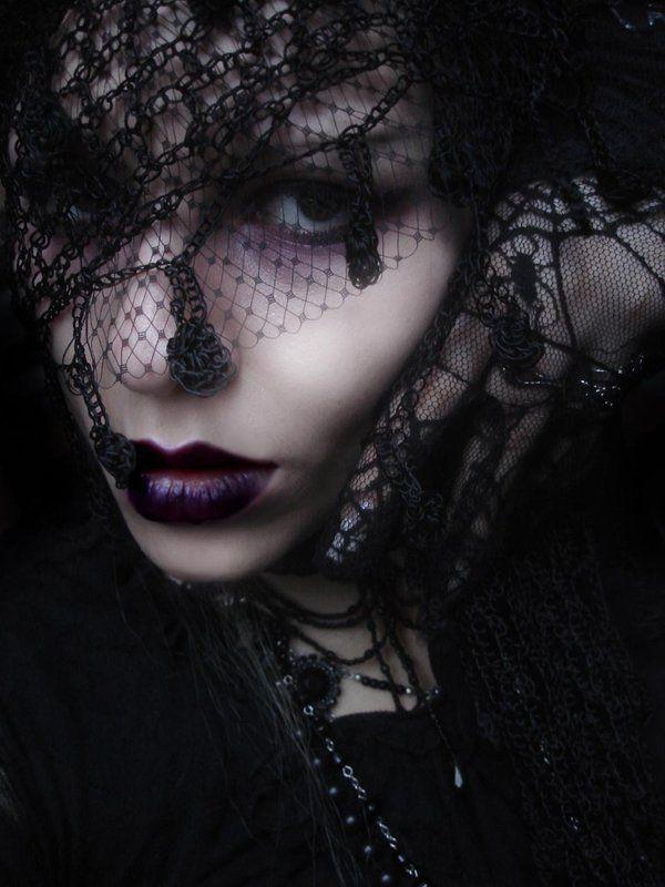 black lace, purple lipstick - Shot from Gothic Beauty