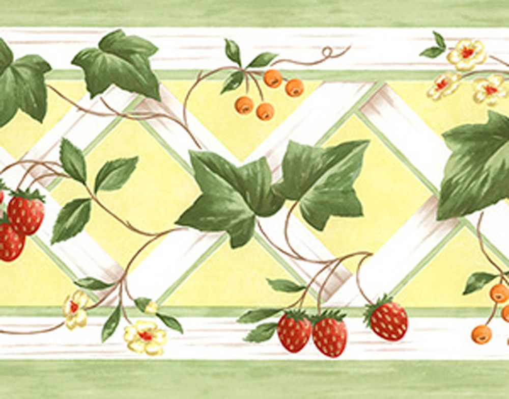 Green Ivy Lattice Trellis Strawberry Yellow Kitchen Country Wallpaper Border