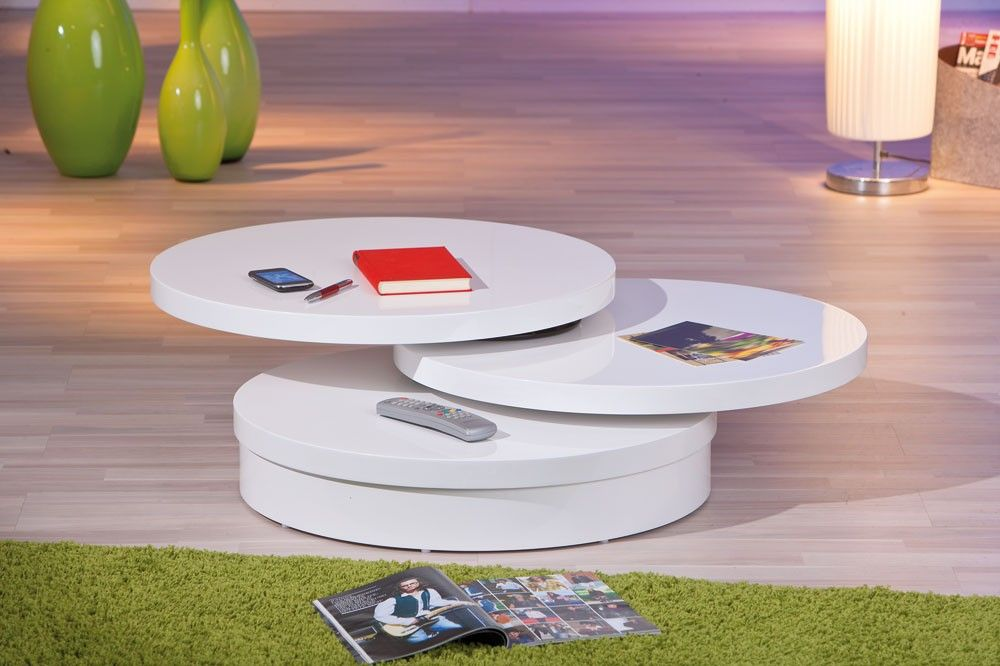 Table basse ronde 2 plateaux pivotants blanc laqu tvs meubles de t l e - Table basse laque blanc design ...