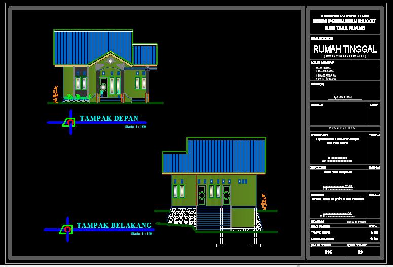 Download Gambar Rumah Type 92 Format Dwg Autocad Autocad Atap Bangunan