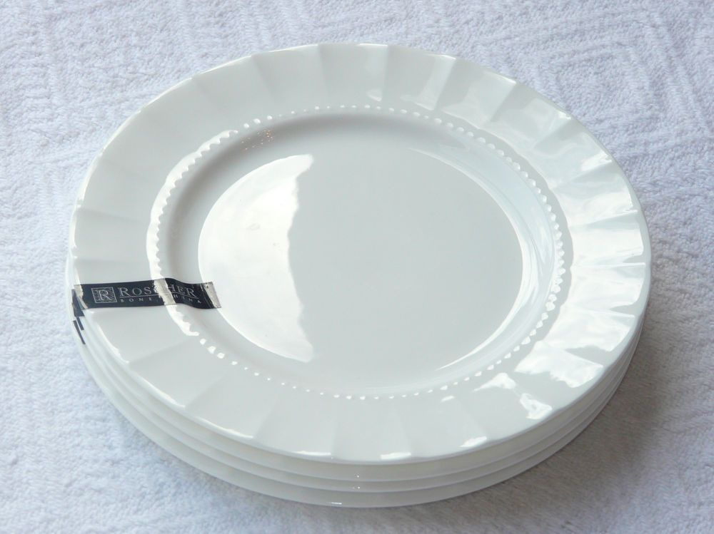 Roscher E-bay & Set 4/8 ROSCHER Fine Bone China Scalloped Beaded Hobnail SALAD ...