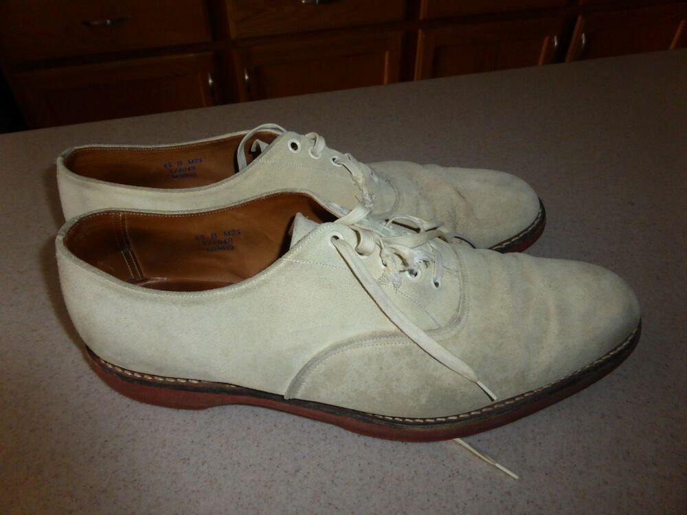 46a28d4bd2907 Brooks Brothers Mens Shoes Beige Suede Leather Made in England sz 13B   BrooksBrothers  WingTip