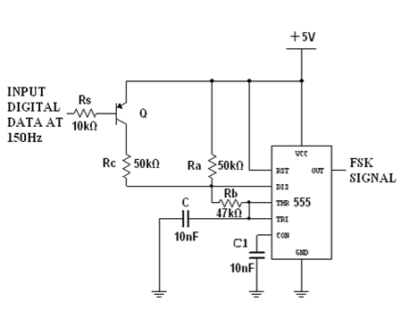 fsk modem and demodem using ic 555 The above above circuit was the modulator part of our wireless modemhere ic 555 was wired as a astable multivibrator in addition to a transistor through which the data bits are fed into the circuit.